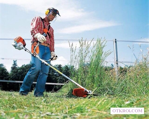 Покос травы (Скосим траву,  скос кустарника,  спил )
