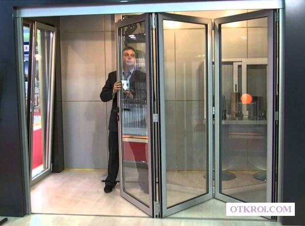 Двери гармошка алюминиевые