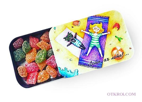 Рекламное монпансье - леденцы с логотипом в жестяных баночках